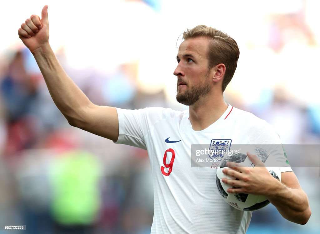 Harry Kane of England is seen with the matchball following scoring a hatrick in his sides victory in the 2018 FIFA World Cup Russia group G match between England and Panama at Nizhny Novgorod Stadium on June 24, 2018 in Nizhny Novgorod, Russia.