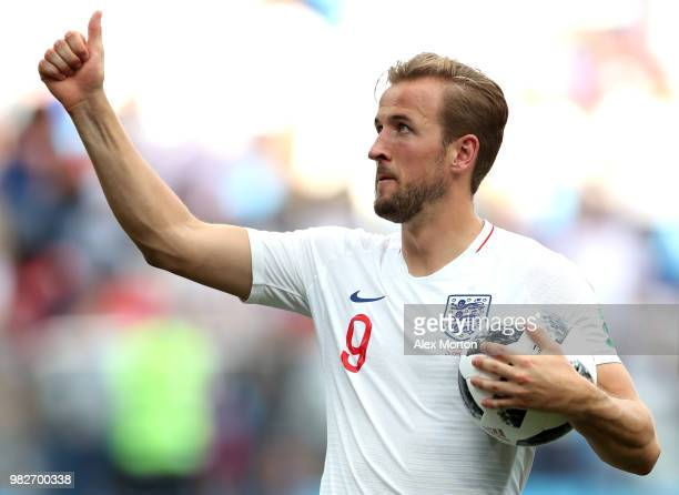 Harry Kane of England is seen with the matchball following scoring a hatrick in his sides victory in the 2018 FIFA World Cup Russia group G match...