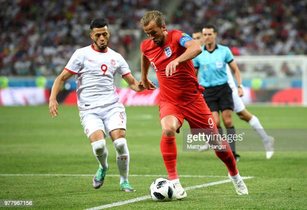 Harry Kane of England is tackled by Anice Badri of Tunisia during the 2018 FIFA World Cup Russia group G match between Tunisia and England at...