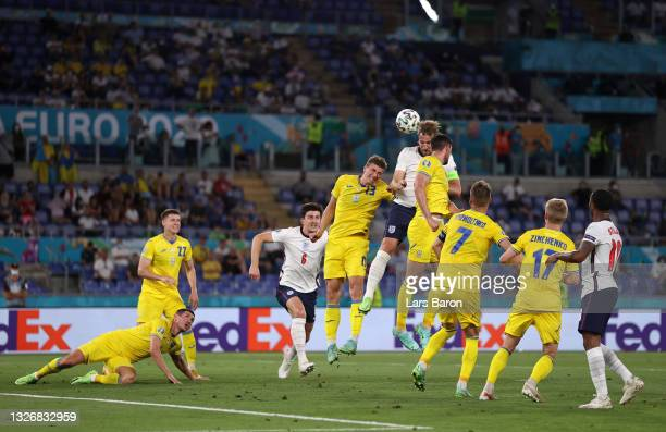 Harry Kane of England jumps for a header during the UEFA Euro 2020 Championship Quarter-final match between Ukraine and England at Olimpico Stadium...
