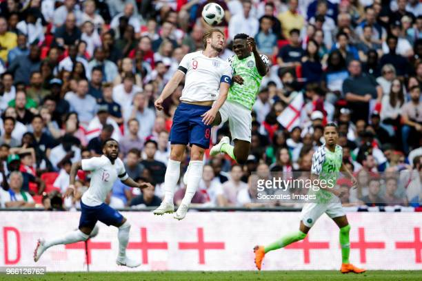 Harry Kane of England Kenneth Omeruo of Nigeria during the International Friendly match between England v Nigeria at the Wembley Stadium on June 2...