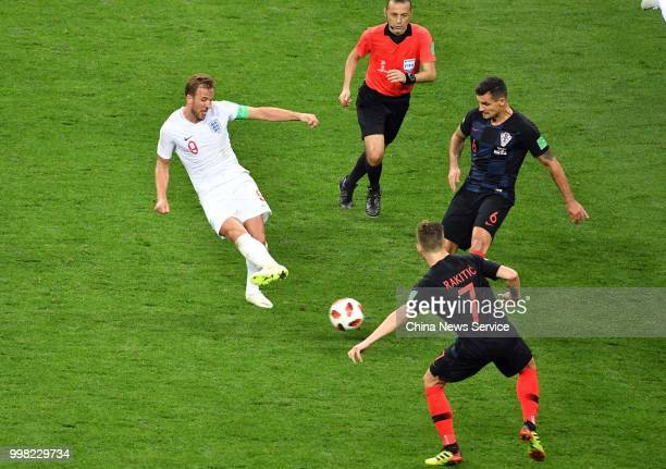 Harry Kane of England kicks the ball during the 2018 FIFA World Cup Russia semi final match between Croatia and England at the Luzhniki Stadium on...