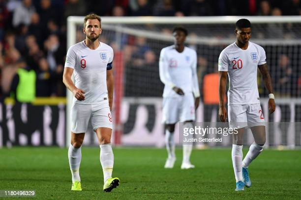 Harry Kane of England looks dejected after the UEFA Euro 2020 qualifier between Czech Republic and England at Sinobo Stadium on October 11, 2019 in...