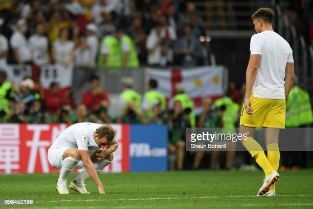 Harry Kane of England looks dejected following his sides defeat in the 2018 FIFA World Cup Russia Semi Final match between England and Croatia at...