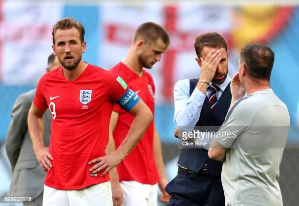 Harry Kane of England looks dejected following his team's defeat in the 2018 FIFA World Cup Russia 3rd Place Playoff match between Belgium and...