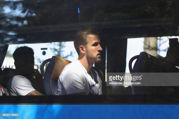 Harry Kane of England looks on as team England depart from the team Hotel ForestMix Repino during the 2018 FIFA World Cup Russia on July 15 2018 in...