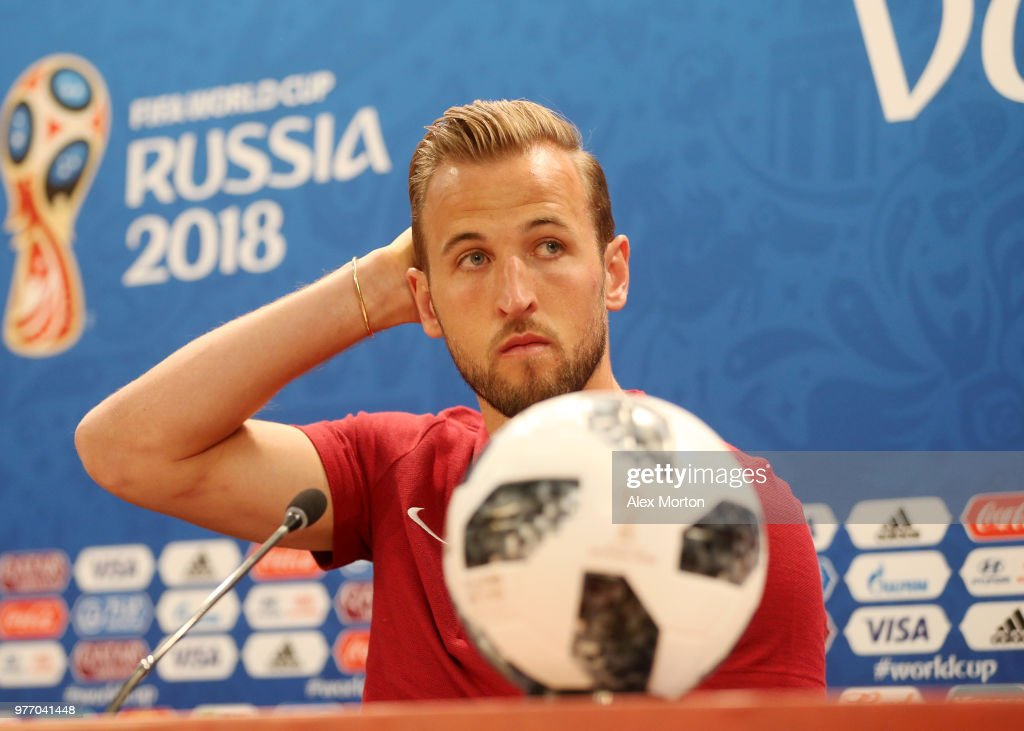 Harry Kane of England looks on during the England press conference ahead of the 2018 FIFA World Cup match against Tunisia at Volgograd Arena on June 17, 2018 in Volgograd, Russia.