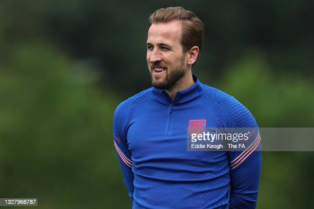 Harry Kane of England looks on during the England Training Session at St George's Park on July 10, 2021 in Burton upon Trent, England.