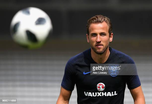 Harry Kane of England looks on during the England training session at St Georges Park on June 6 2018 in BurtonuponTrent England