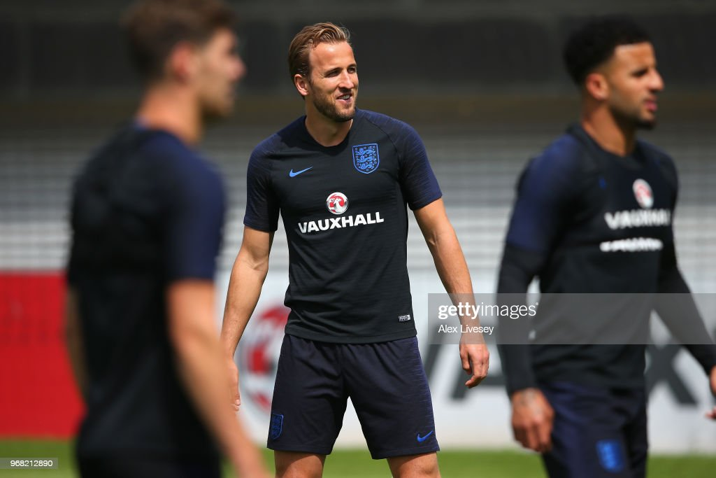 Harry Kane of England looks on during the England training session at St Georges Park on June 6, 2018 in Burton-upon-Trent, England.