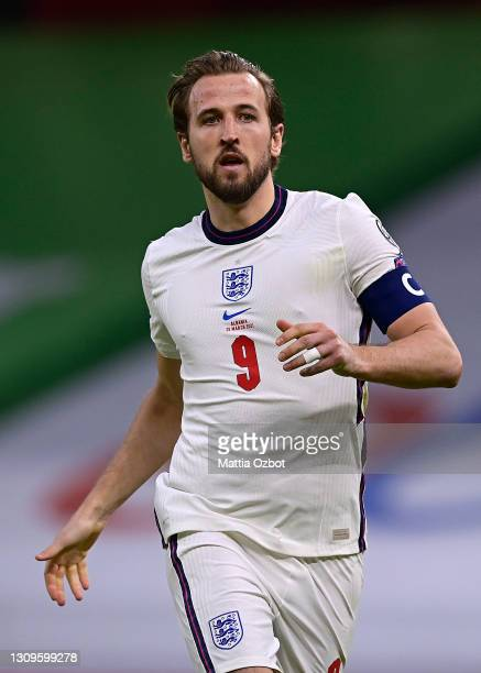 Harry Kane of England looks on during the FIFA World Cup 2022 Qatar qualifying match between Albania and England at the Qemal Stafa Stadium on March...