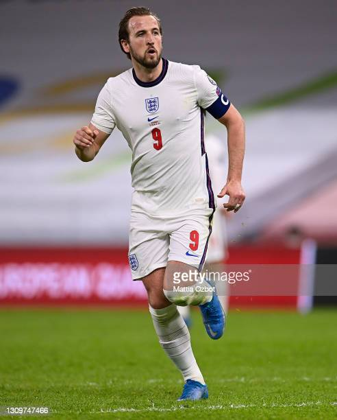 Harry Kane of England looks on during the FIFA World Cup 2022 Qatar qualifying match between Albania and England on March 28, 2021 in Tirana, Albania.