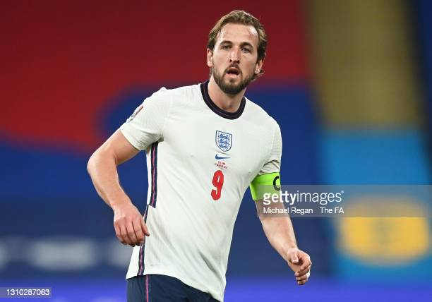 Harry Kane of England looks on during the FIFA World Cup 2022 Qatar qualifying match between England and Poland on March 31, 2021 at Wembley Stadium...