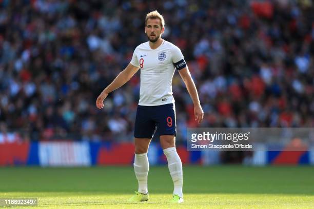 Harry Kane of England looks on during the UEFA Euro 2020 qualifier match between England and Bulgaria at Wembley Stadium on September 7 2019 in...