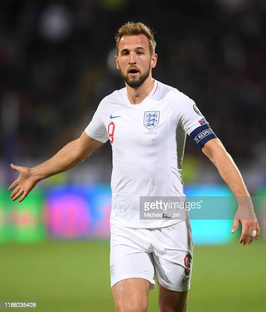 Harry Kane of England looks on during the UEFA Euro 2020 Qualifier between Kosovo and England at the Pristina City Stadium on November 17, 2019 in...
