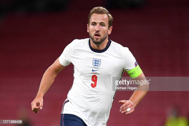 Harry Kane of England looks on during the UEFA Nations League group stage match between Denmark and England at Parken Stadium on September 08, 2020...