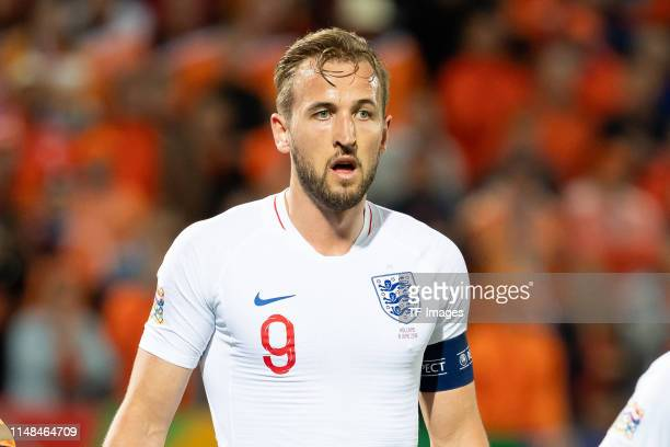 Harry Kane of England looks on during the UEFA Nations League Semi-Final match between the Netherlands and England at Estadio D. Afonso Henriques on...