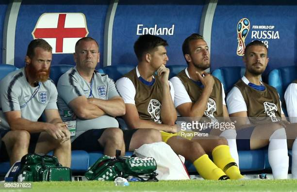 Harry Kane of England looks on from the bench during the 2018 FIFA World Cup Russia group G match between England and Belgium at Kaliningrad Stadium...
