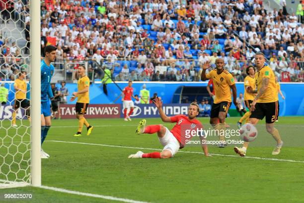 Harry Kane of England misses a chance in front of goal during the 2018 FIFA World Cup Russia 3rd Place Playoff match between Belgium and England at...