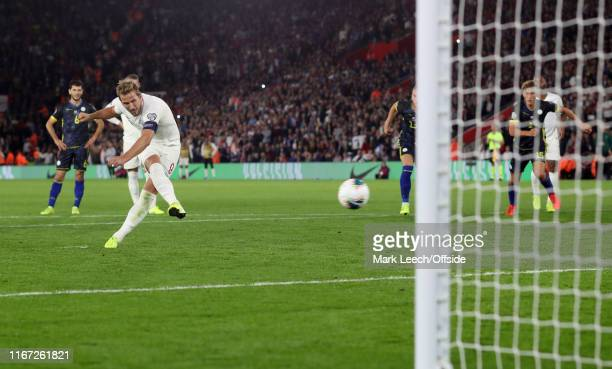 Harry Kane of England misses from the penalty spot during the UEFA Euro 2020 qualifier match between England and Kosovo at St Mary's Stadium on...