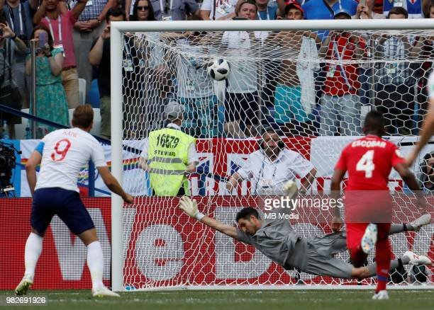 Harry Kane of England national team scores a penalty shot past Jaime Penedo of Panama national team during the 2018 FIFA World Cup Russia group G...