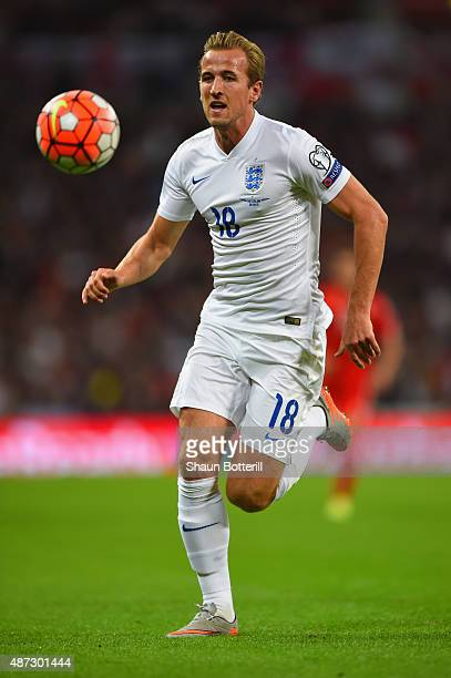 Harry Kane of England on the ball during the UEFA EURO 2016 Group E qualifying match between England and Switzerland at Wembley Stadium on September...