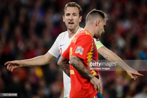 Harry Kane of England Paco Alcacer of Spain during the UEFA Nations league match between Spain v England at the Estadio Benito Villamarin on October...