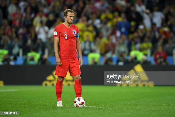 Harry Kane of England places the ball on the penalty spot before scoring his side's firts goal during the 2018 FIFA World Cup Russia Round of 16...