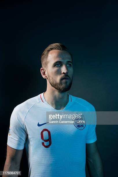 Harry Kane of England poses during a photo shoot at St Georges Park on June 04, 2019 in Burton-upon-Trent, England.