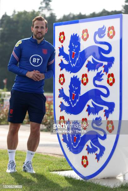 Harry Kane of England poses for a photograph at the Lion's Den at St George's Park on June 30, 2021 in Burton upon Trent, England.