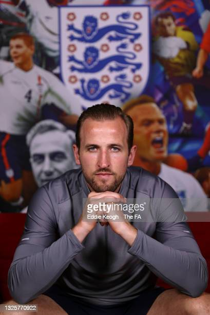 Harry Kane of England poses for a portrait at St George's Park on June 27, 2021 in Burton upon Trent, England.
