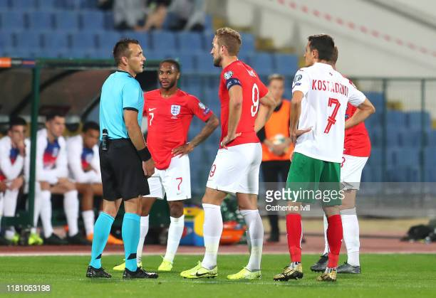 Harry Kane of England questions referee Ivan Bebek during the UEFA Euro 2020 qualifier between Bulgaria and England on October 14, 2019 in Sofia,...