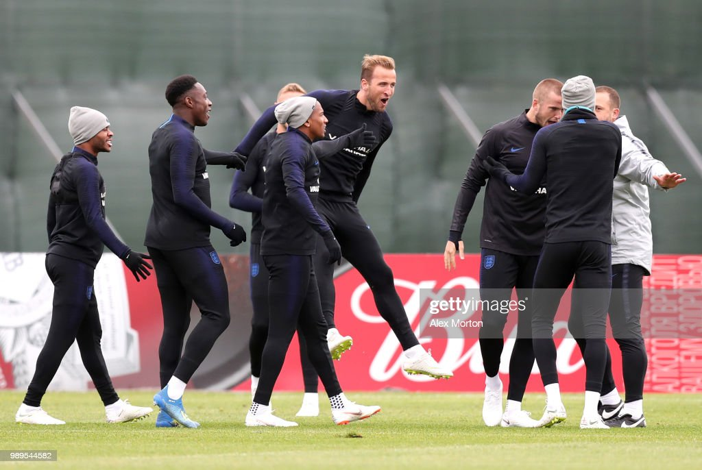 Harry Kane of England, Raheem Sterling of England, Ashley Young of England , Danny Welbeck of England and Eric Dier of England react during the England training session at the Stadium Spartak Zelenogorsk on July 2, 2018 in Saint Petersburg, Russia.
