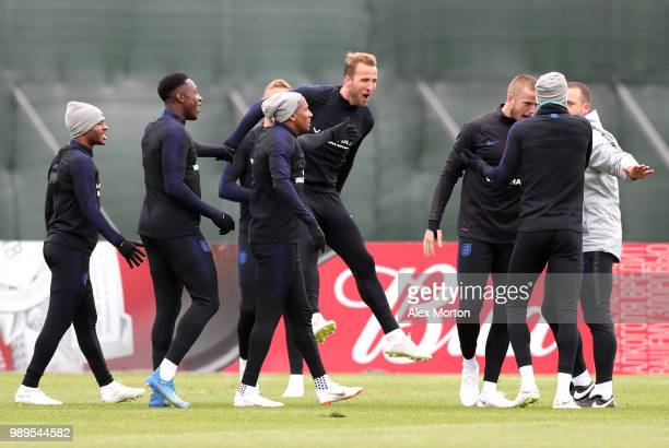 Harry Kane of England Raheem Sterling of England Ashley Young of England Danny Welbeck of England and Eric Dier of England react during the England...