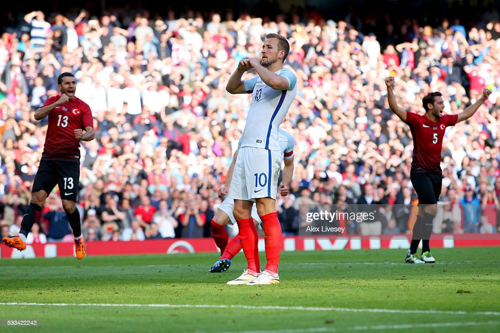 Harry Kane of England reacts after hitting the post from the penalty spot during the International Friendly match between England and Turkey at Etihad Stadium on May 22, 2016 in Manchester, England.