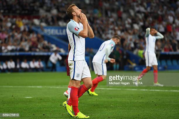 Harry Kane of England reacts after missing a chance during the UEFA EURO 2016 Group B match between England and Russia at Stade Velodrome on June 11,...