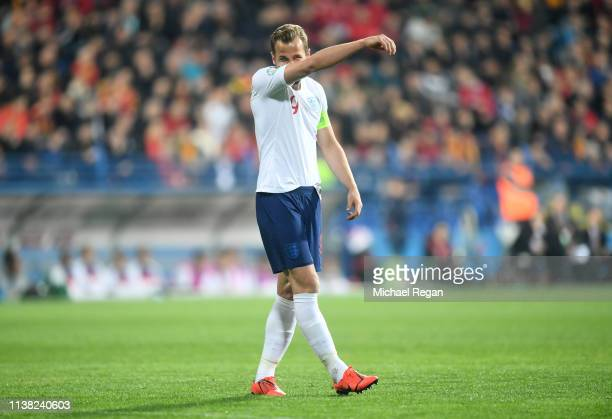 Harry Kane of England reacts during the 2020 UEFA European Championships Group A qualifying match between Montenegro and England at Podgorica City...