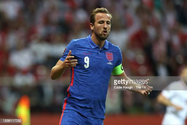 Harry Kane of England reacts during the 2022 FIFA World Cup Qualifier match between Poland and England at Stadion Narodowy on September 08, 2021 in...