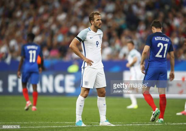 Harry Kane of England reacts during the International Friendly match between France and England at Stade de France on June 13 2017 in Paris France