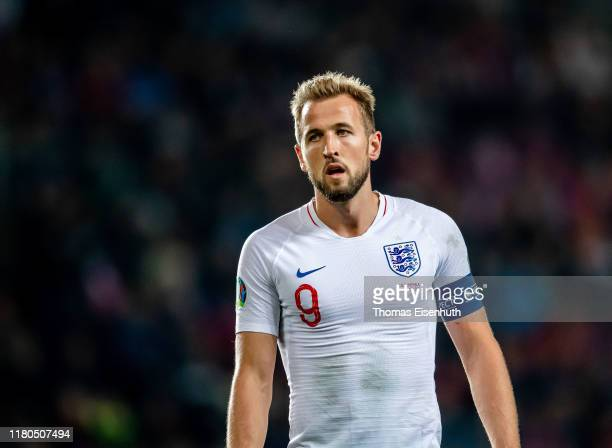 Harry Kane of England reacts during the UEFA Euro 2020 qualifier between Czech Republic and England at Eden Arena on October 11, 2019 in Prague.