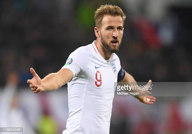 Harry Kane of England reacts during the UEFA Euro 2020 Qualifier between Kosovo and England at the Pristina City Stadium on November 17 2019 in...