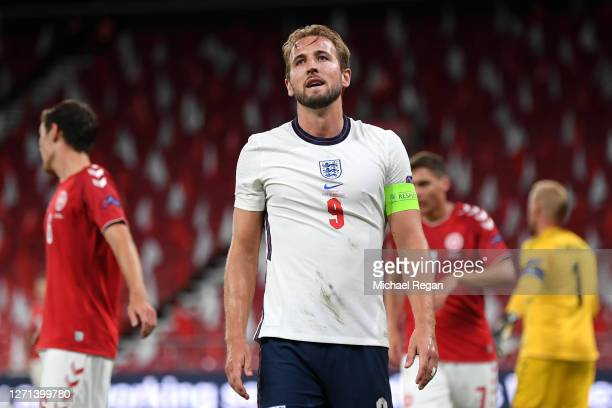 Harry Kane of England reacts during the UEFA Nations League group stage match between Denmark and England at Parken Stadium on September 08, 2020 in...