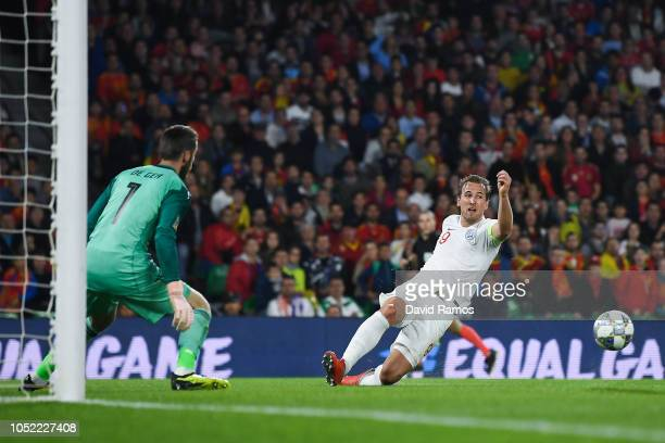 Harry Kane of England releases passes the ball to his team mate Raheem Sterling to score his team's third goal during the UEFA Nations League A group...