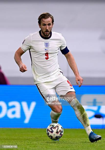 Harry Kane of England runs with the ball during the FIFA World Cup 2022 Qatar qualifying match between Albania and England at the Qemal Stafa Stadium...