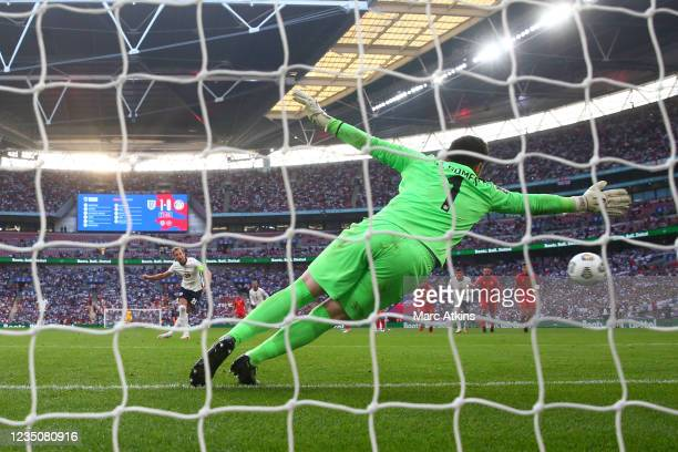 Harry Kane of England scores a goal from the penalty spot during the 2022 FIFA World Cup Qualifier between England and Andorra at Wembley Stadium on...