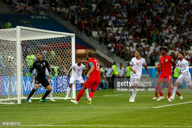 Harry Kane of England scores a goal to make it 12 during the 2018 FIFA World Cup Russia group G match between Tunisia and England at Volgograd Arena...