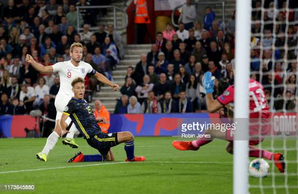 Harry Kane of England scores a goal to make it 21 during the UEFA Euro 2020 qualifier match between England and Kosovo at St Mary's Stadium on...