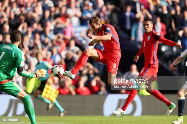 Harry Kane of England scores a goal to make the score 2-2 during the FIFA 2018 World Cup Qualifier between Scotland and England at Hampden Park...
