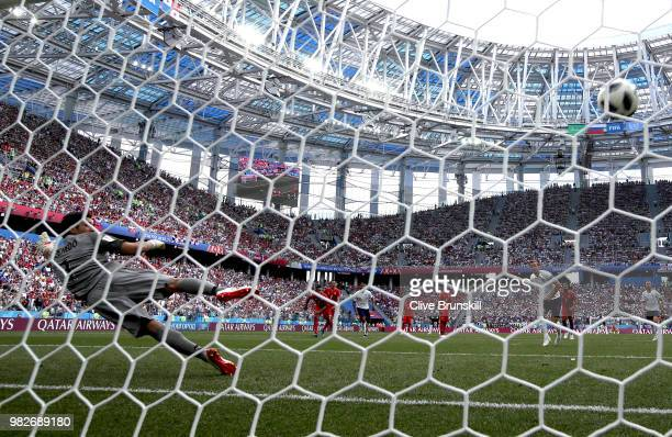 Harry Kane of England scores a penalty for his team's fifth goal past Jaime Penedo of Panama during the 2018 FIFA World Cup Russia group G match...