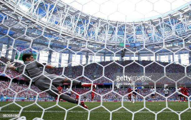 Harry Kane of England scores a penalty for his team's fifth goal during the 2018 FIFA World Cup Russia group G match between England and Panama at...